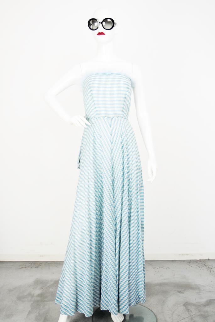 ADR001846 ライトブルーストライプ柄ドレス