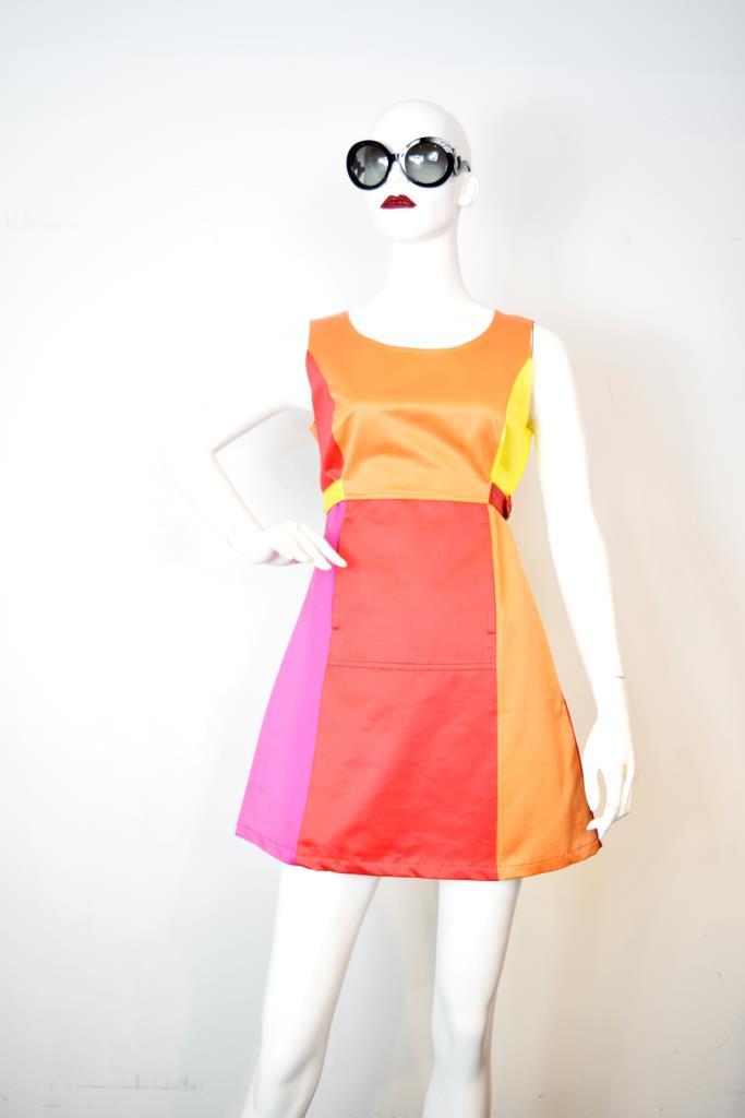 ADR001856 カラフルノースリーブドレス
