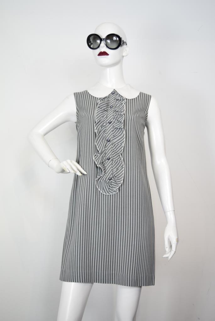 ADR001862 ブラックストライプ柄ドレス
