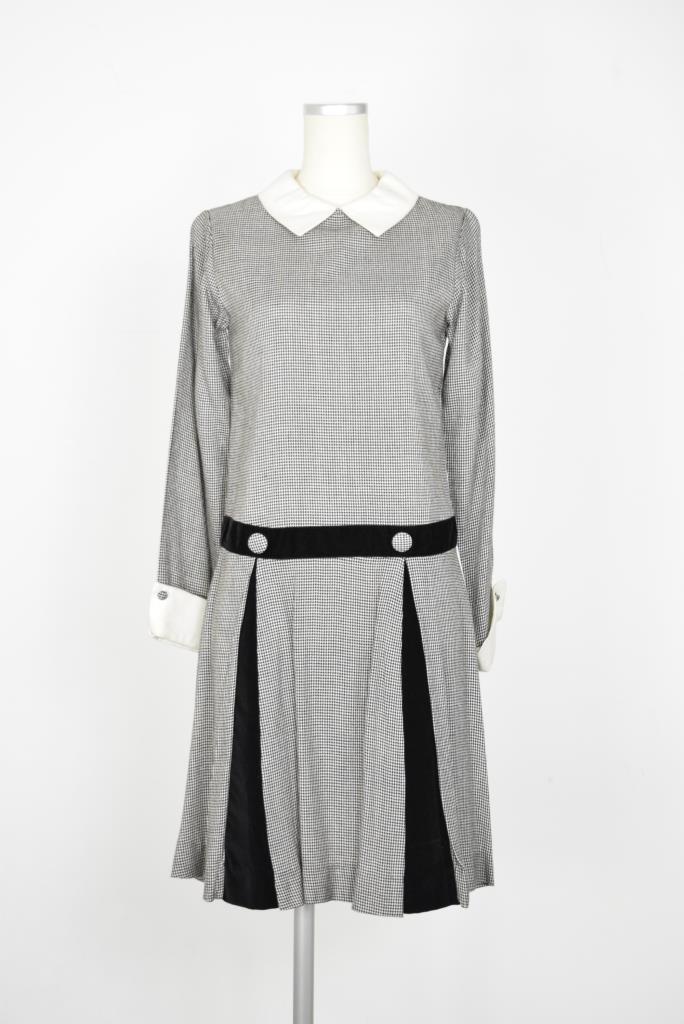 ADR001877 グレーチェック柄ドレス