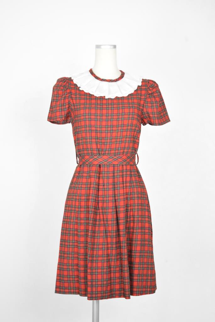ADR001878 レッドチェック柄ドレス