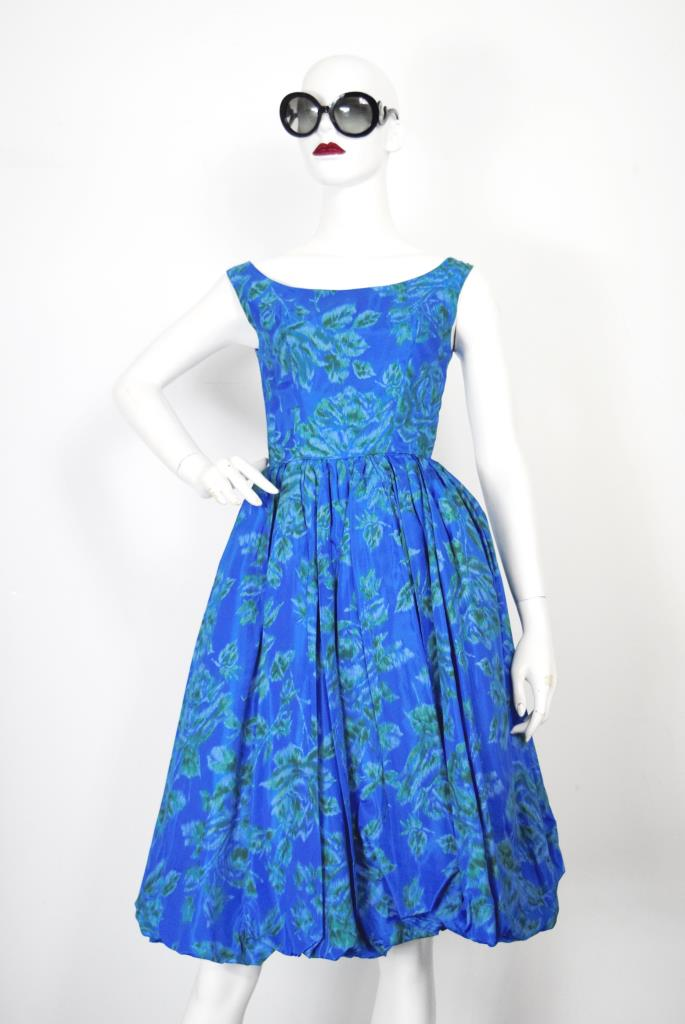 ADR001883 ブルー花柄ドレス