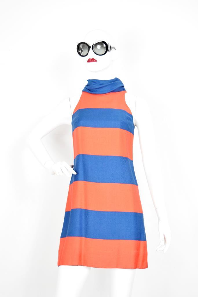 ADR001899 オレンジブルーボーダードレス