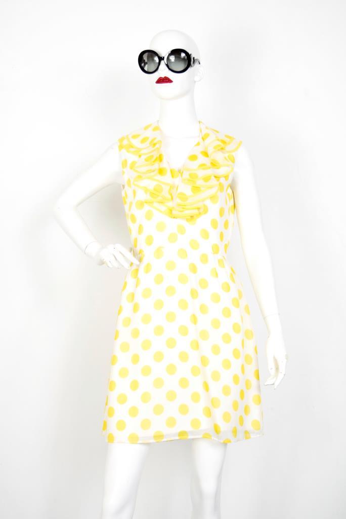 ADR001910 イエロードッド柄ドレス