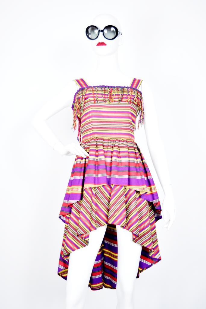ADR001912 カラフルボーダー柄ドレス