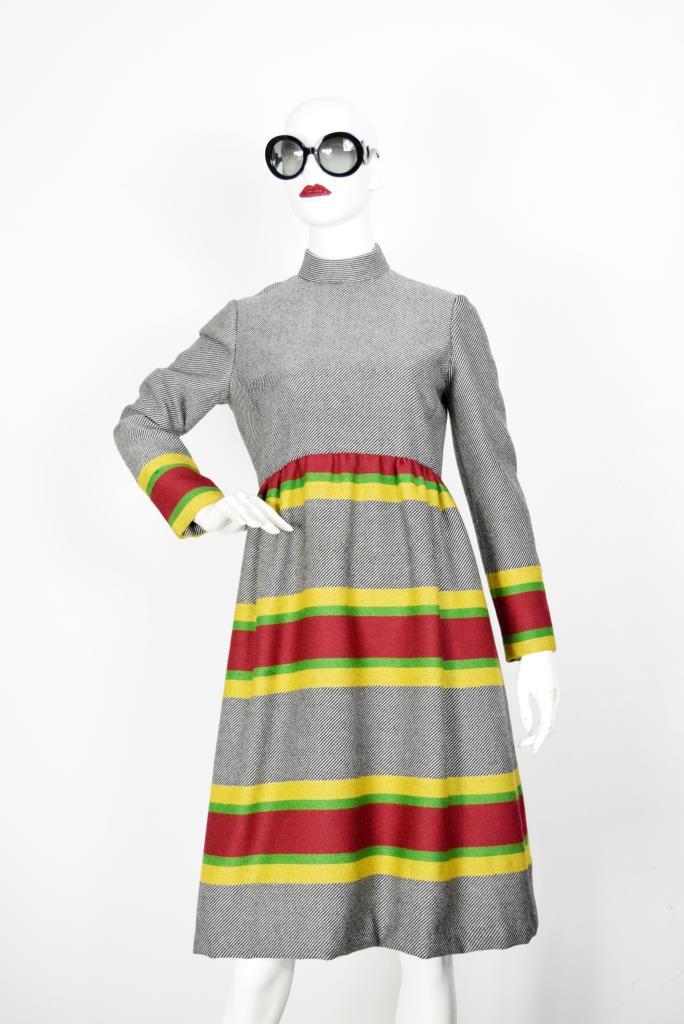 ADR001915 グレーボーダー柄ドレス