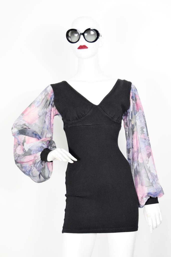 ADR001917 ブラック花柄スリーブドレス