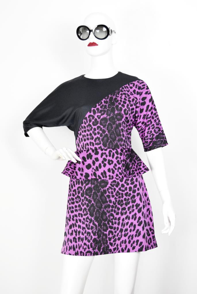 ADR001918 パープル豹柄ぺプラムドレス