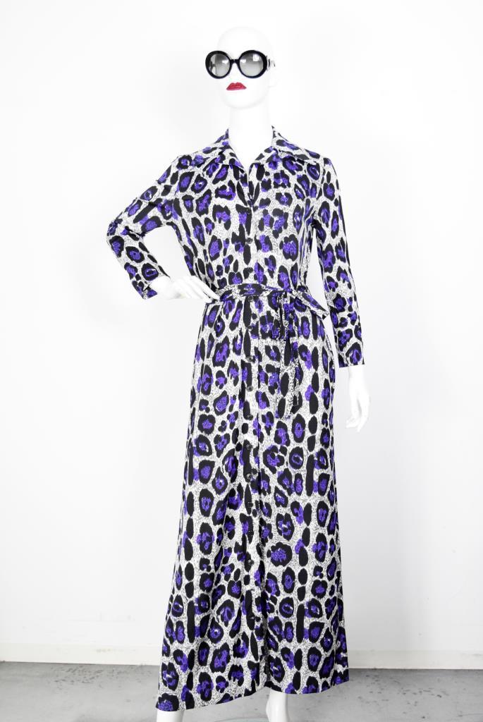 ADR001922 パープル豹柄ドレス