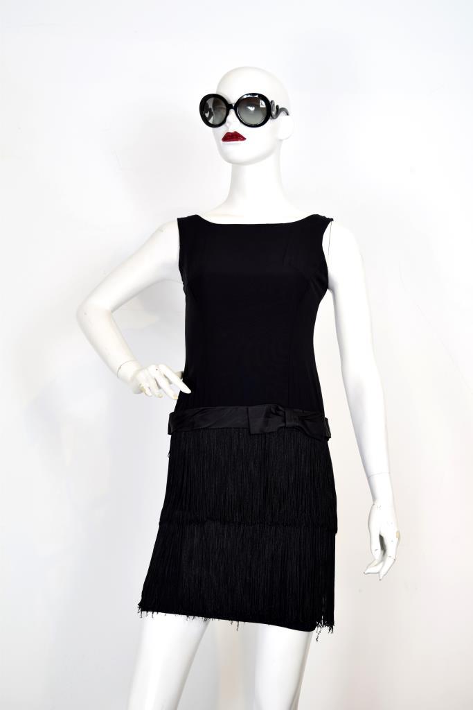 ADR001940 ブラックフリンジスカートドレス
