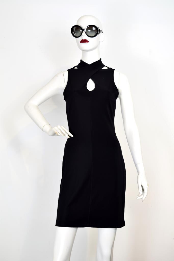 ADR001947 ブラックハイネックドレス