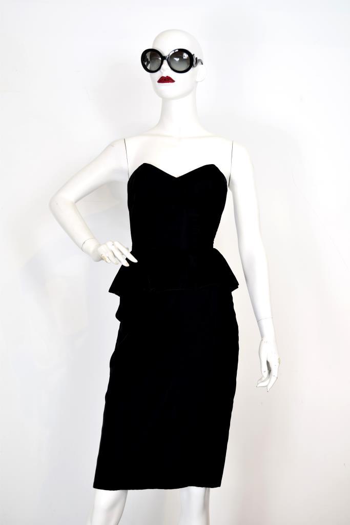 ADR001955 ブラックぺプラムスカートドレス