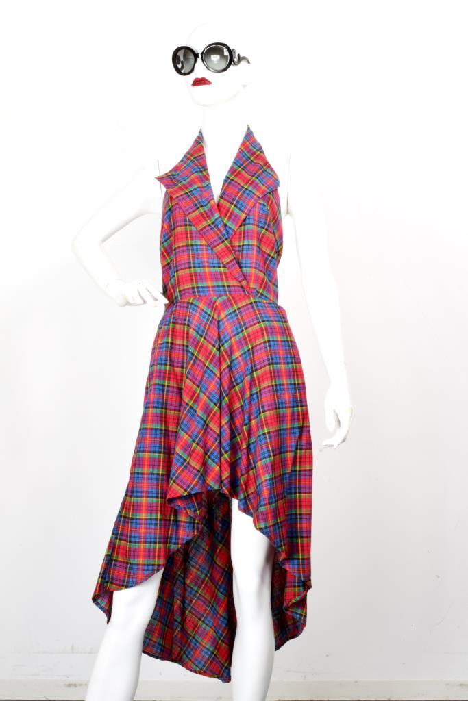 ADR001971 レッドチェック柄ドレス
