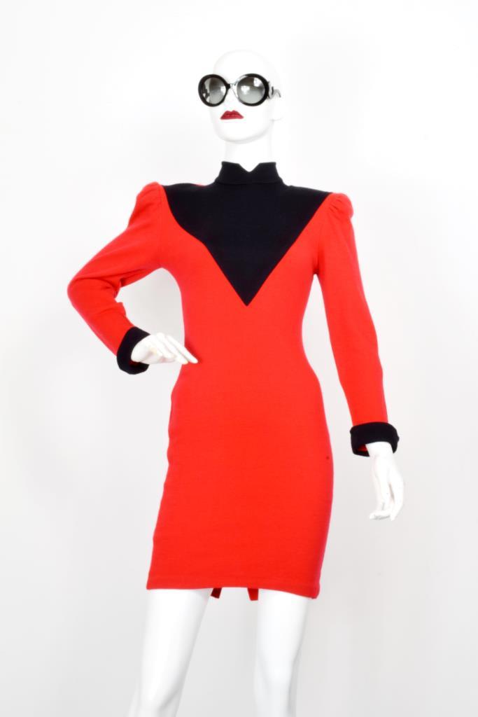ADR001973 レッドブラックバイカラードレス