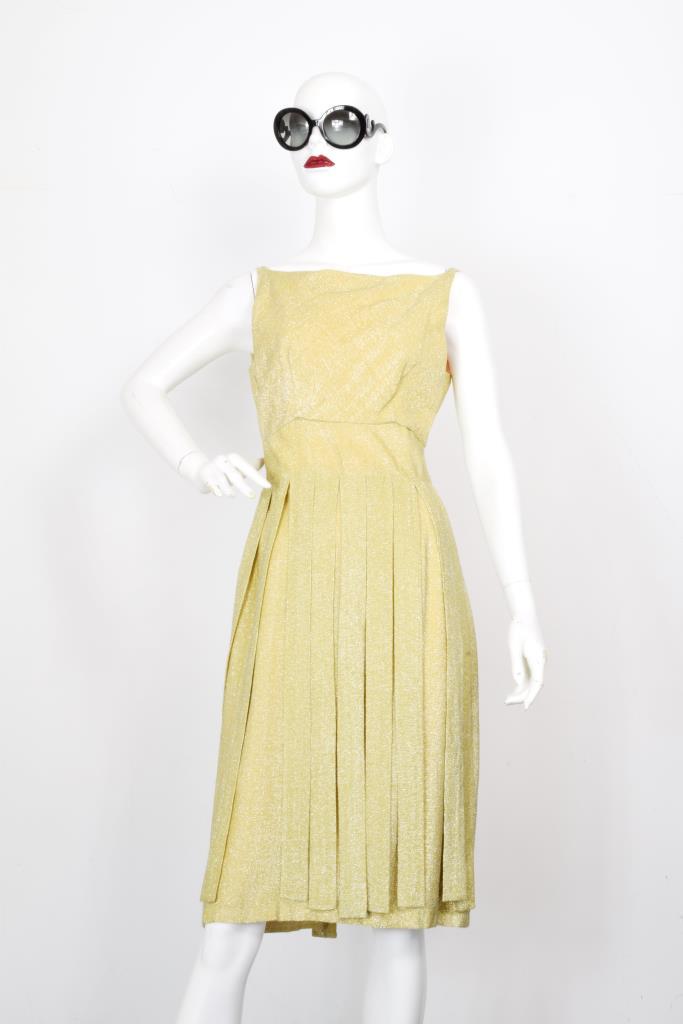 ADR001984 ゴールドボートネックドレス