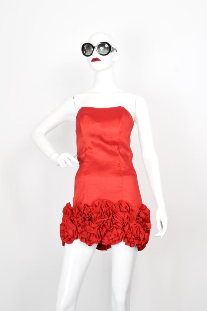 ADR001988 レッド裾フリルドレス