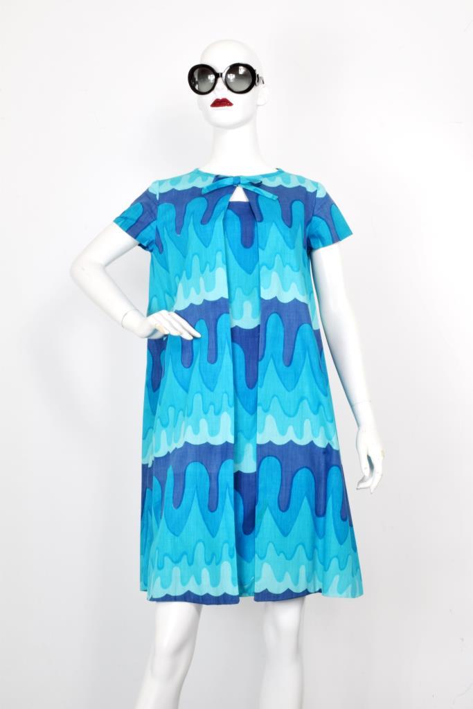ADR001992 ブルー総柄ドレス