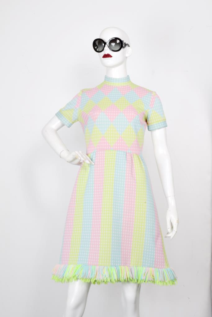 ADR001996 パステルカラフル総柄ドレス