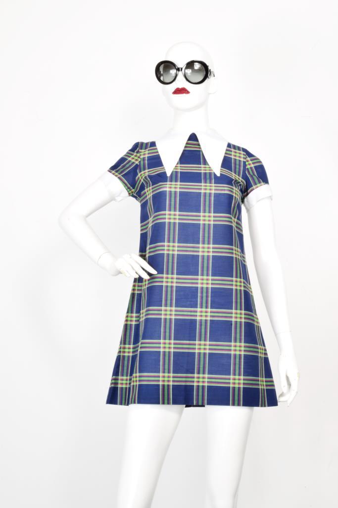 ADR001997 ネイビーチェック柄ドレス
