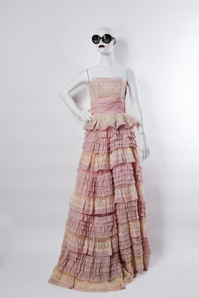 ADR100009 ピンクフリルロングドレス