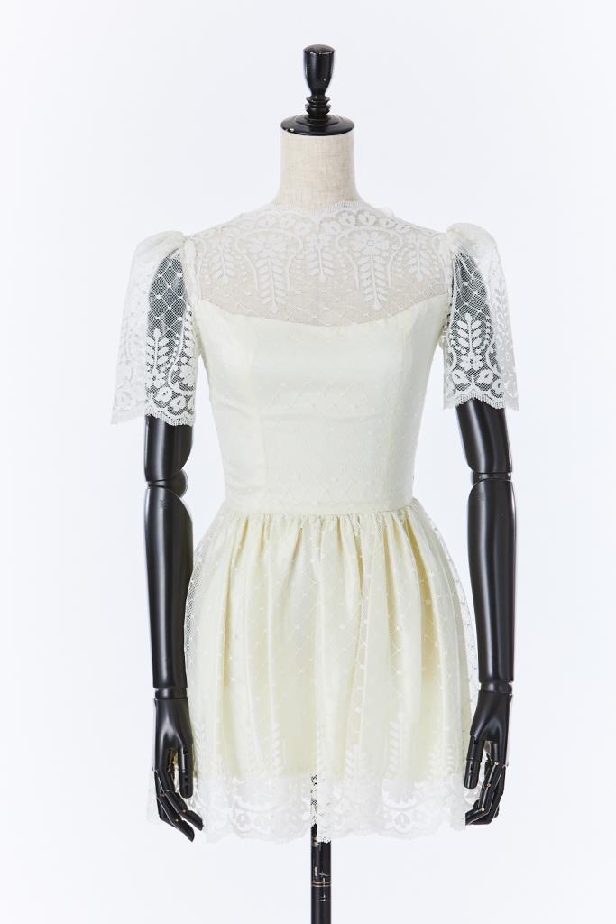 ADR500039 ハイネックレースドレス