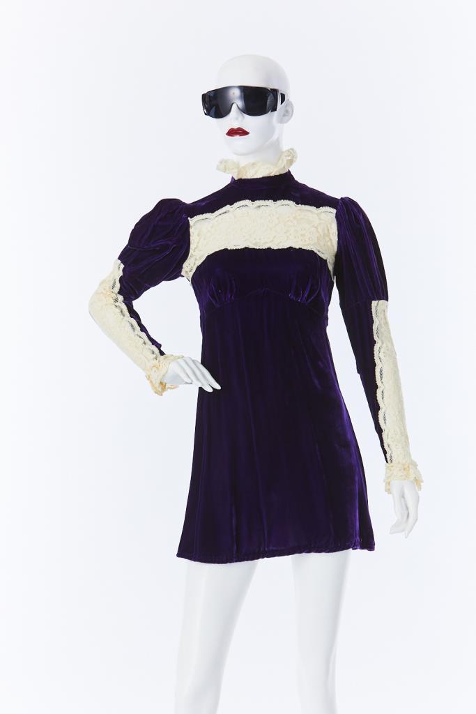 ADR500076 ベロアレースドレス