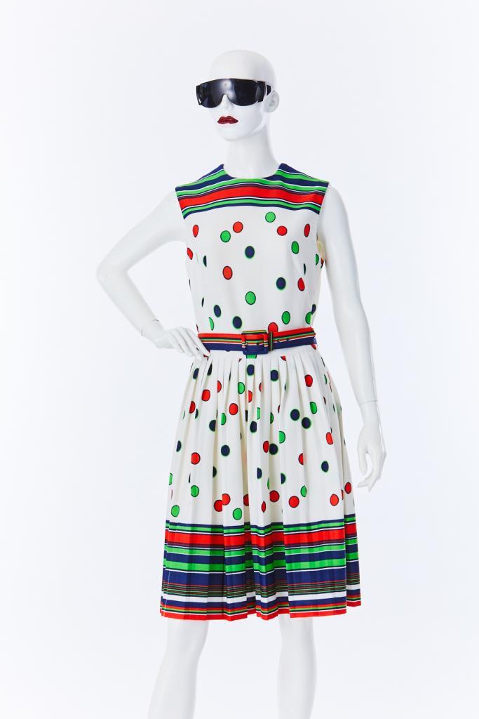 ADR500120 ボーダー水玉ドレス