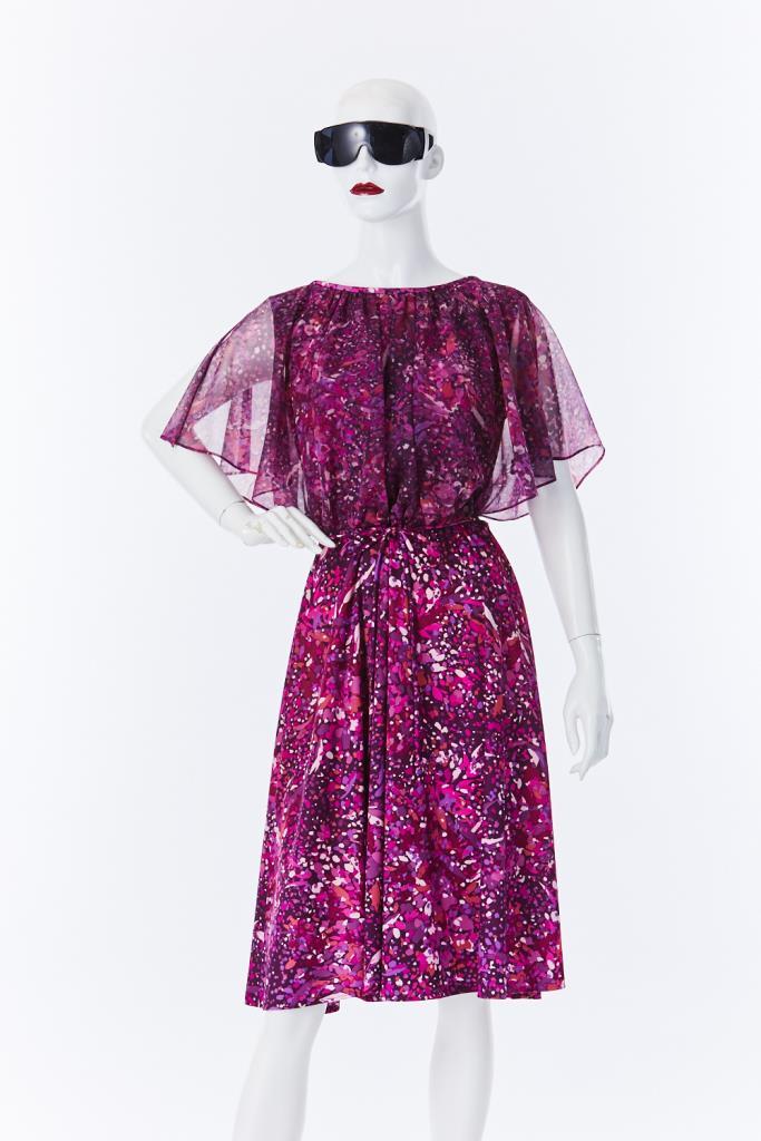 ADR500135 パープル総柄ドレス