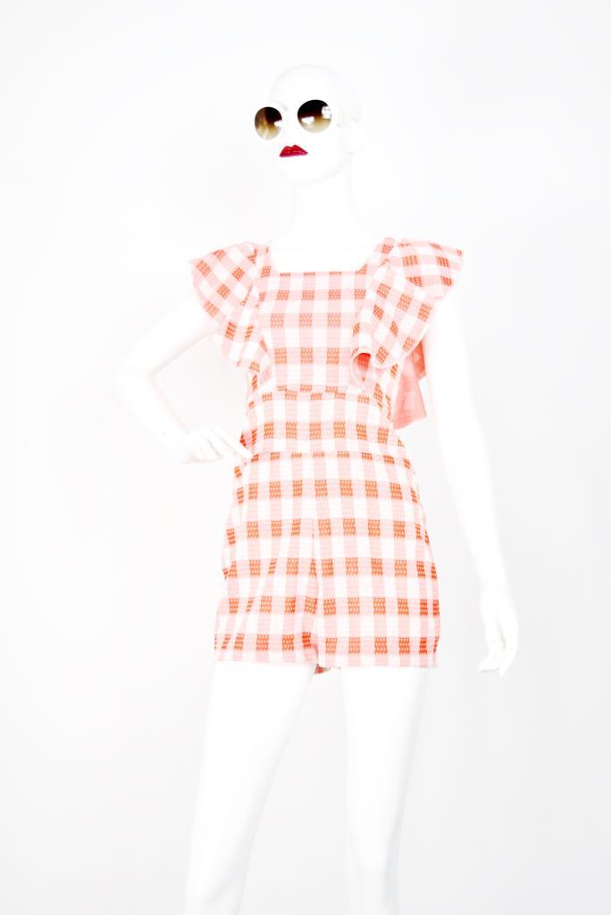 AJU001749 オレンジチェック柄ドレス