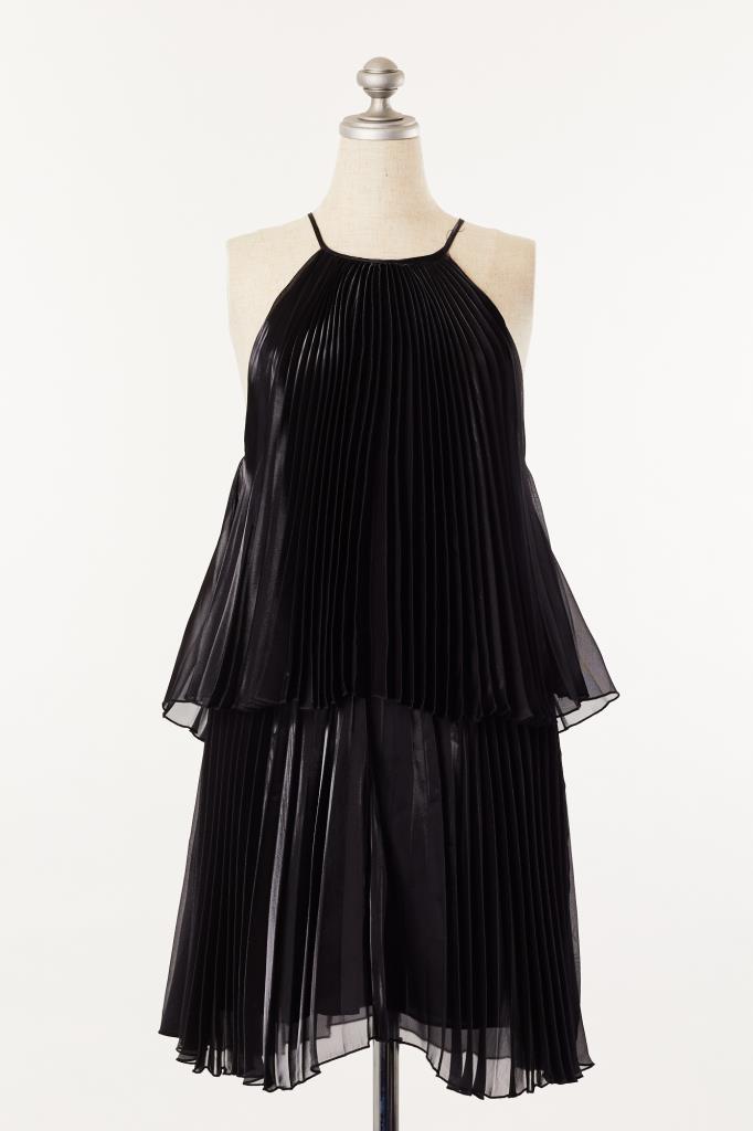DR100042 mason ブラックプリーツドレス