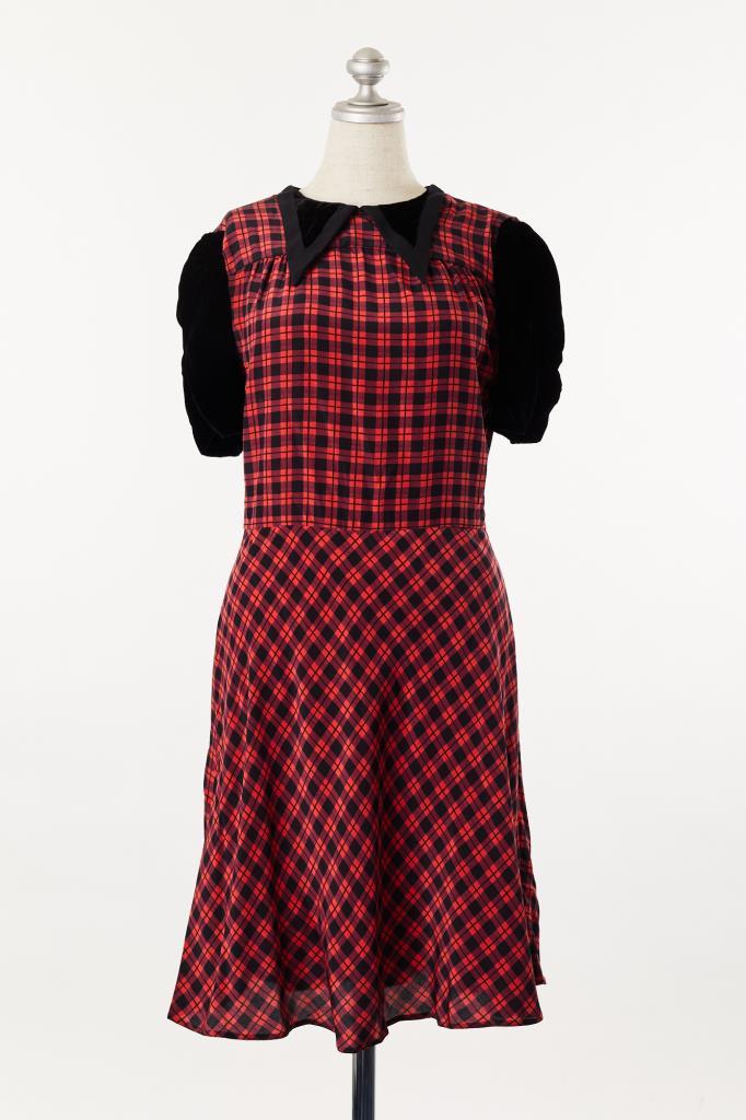DR100107 MIUMIU 赤黒チェックドレス