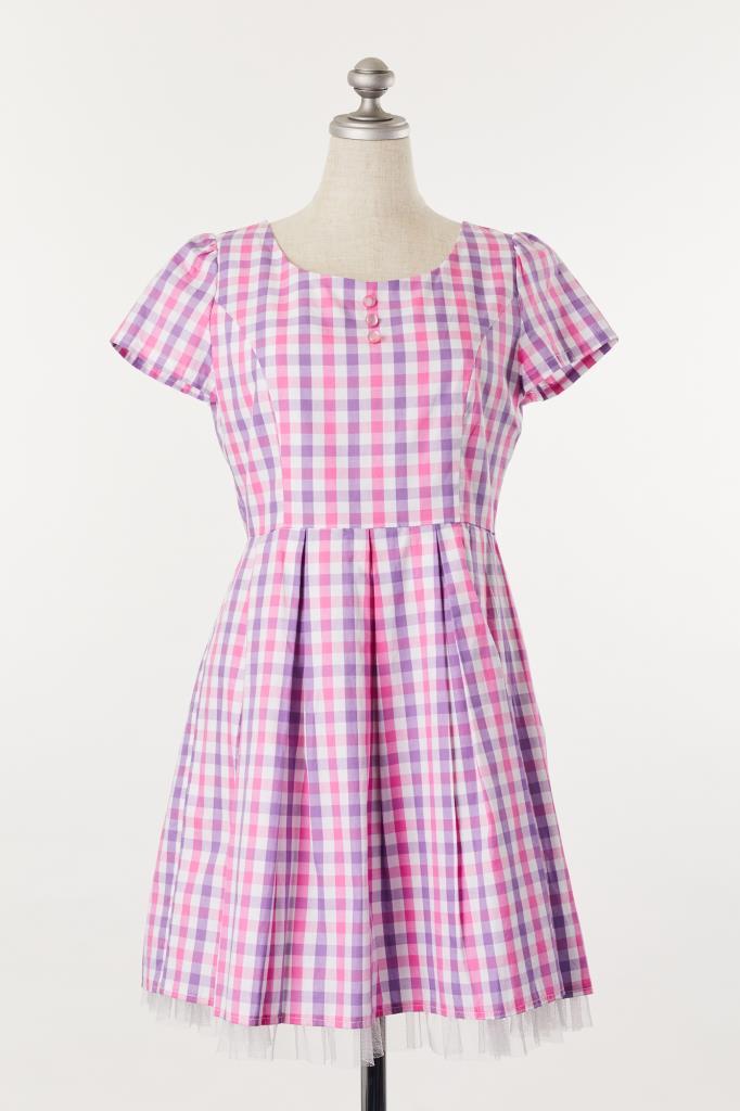 DR100124 ADREE ピンクチェックドレス