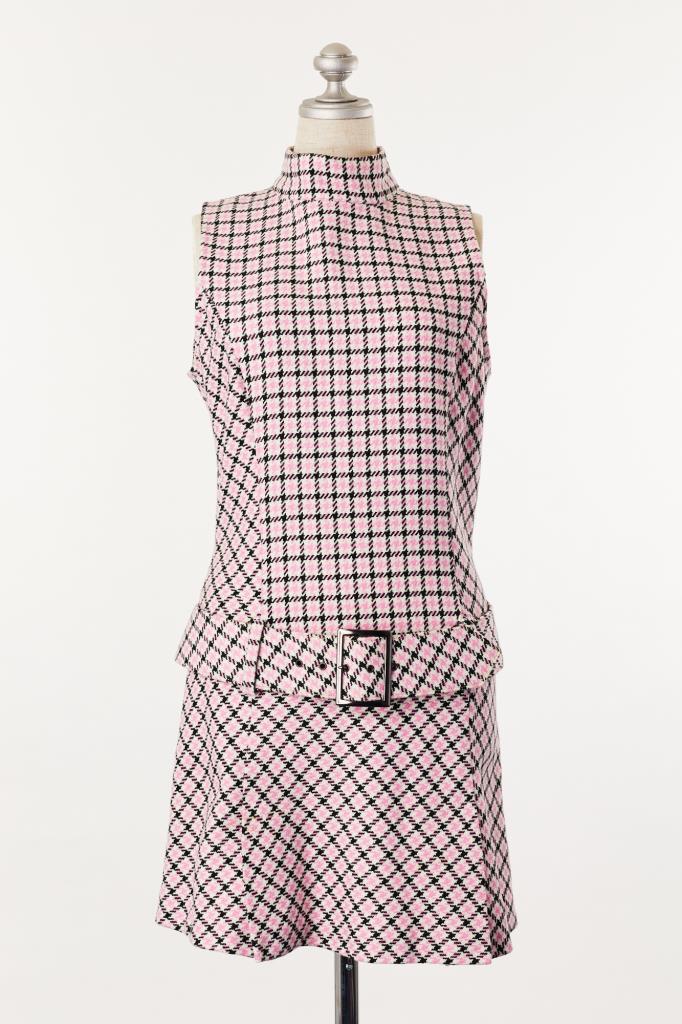 DR100137 SISLEY ピンクチェックドレス
