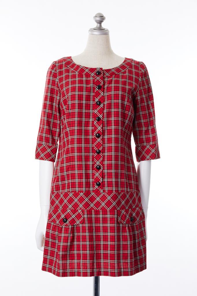 DR100138 BURBERRY BL 赤チェックドレス