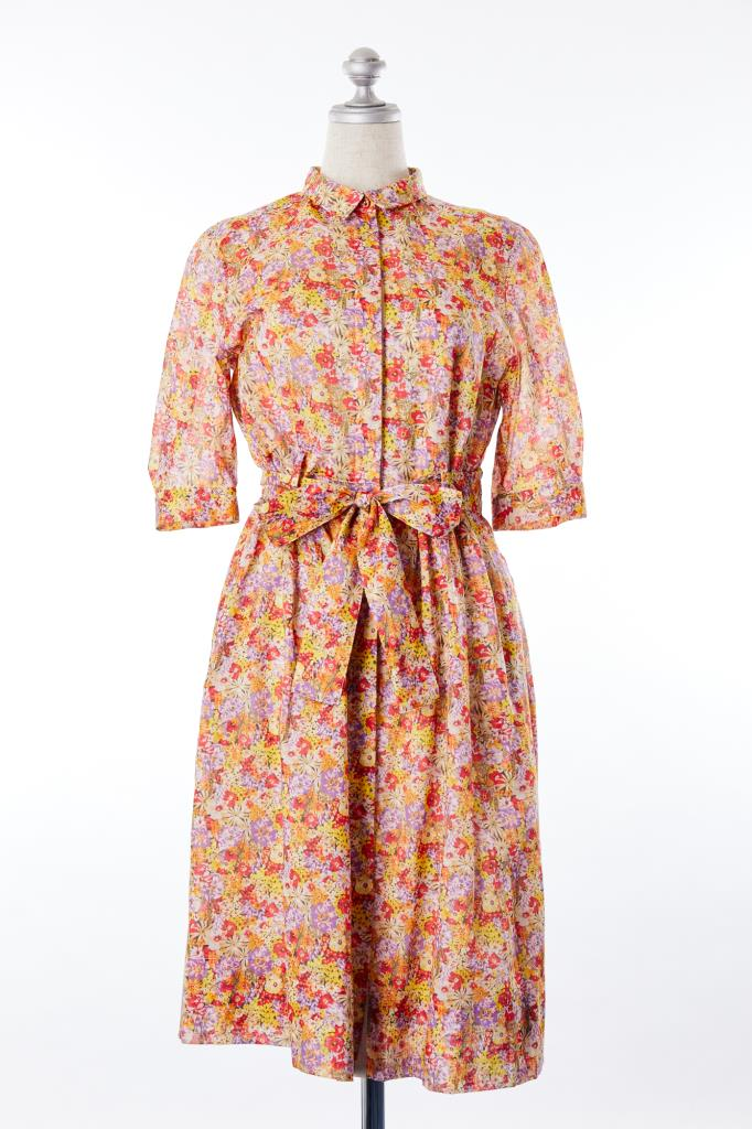 DR100150 MACPHEE 小花柄シャツドレス