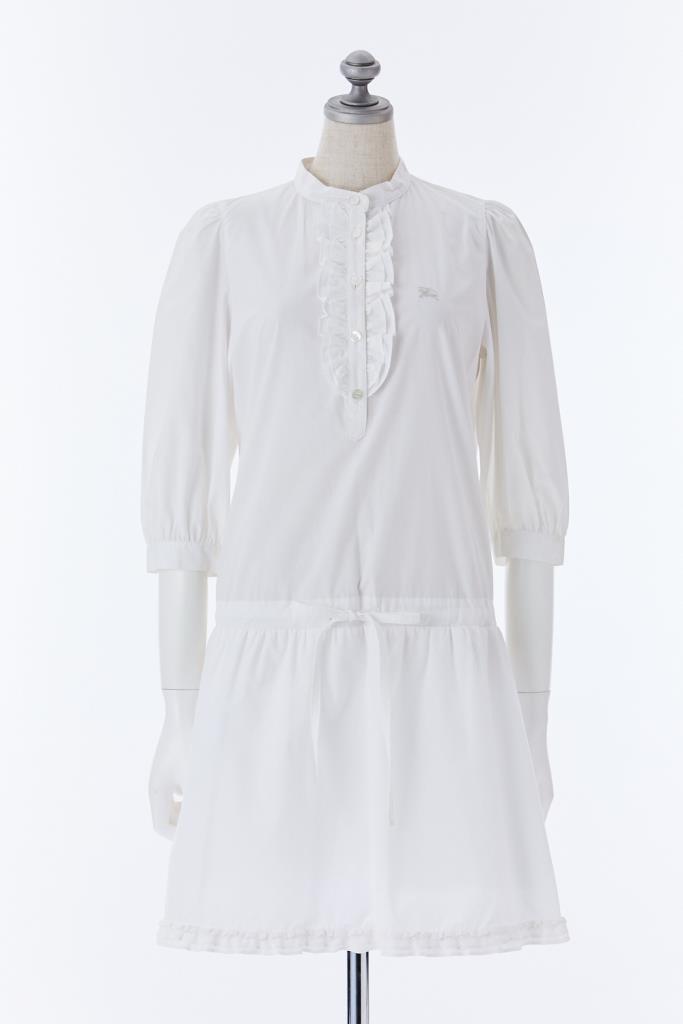 DR100157 BURBERRY BL ホワイトドレス