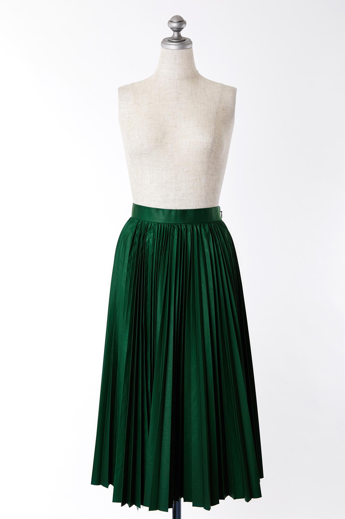 SK200058 AINEA グリーンプリーツスカート